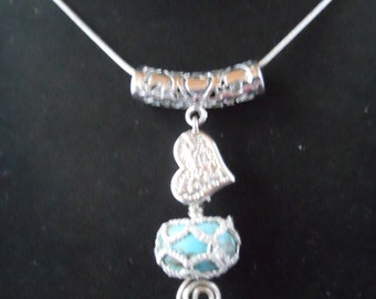 Turquoise and Silver Tatted Pendant