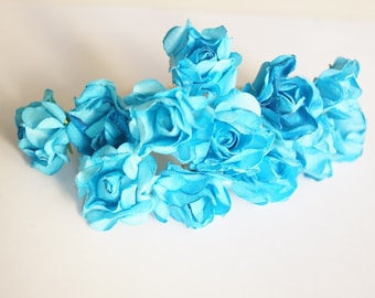 Bridal Hair Accessories,  Turquoise Blue Rose, Turquoise  Blue flower Hair Bobby Pin, Brass Bobby pin- set 12