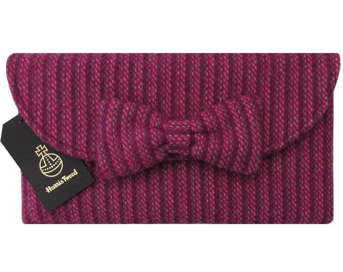 Harris Tweed Pink & Purple Weave Clutch Bag with Bow