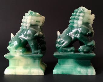 Vintage Green Stone Foo Dog Pair