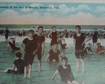 Bathing in the Gulf of Mexico at Galveston, Texas Antique View Postcard  UNUSED