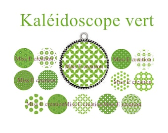 Green Kaleidoscope print of digital images for cabochon 25mm and 20mm and 18mm