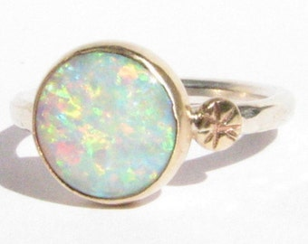 Opal Ring -Silver & 14k Gold Ring - Stackable-Statement Ring-Opal Gold Ring-14k Gold Opal-Opal Engagement Ring-Gold Opal Ring-MADE TO ORDER.