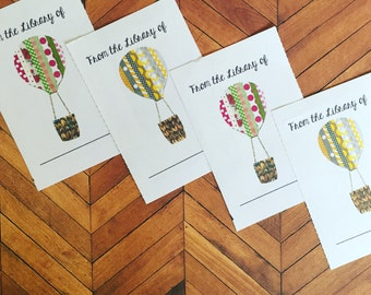 Hot Air Balloons Bookplates, Set of 12 or 24