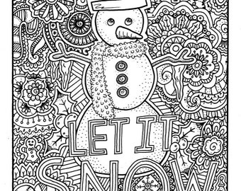 Christmas Coloring Page, Coloring Book Pages, Printable Adult Coloring, Hand Drawn, Art Therapy, Instant Download Print