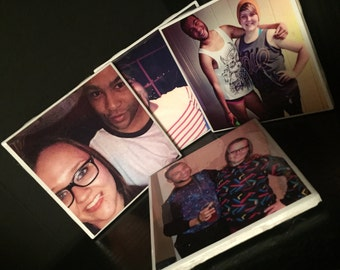 Personalized photo coasters glazed with water/heat proof product