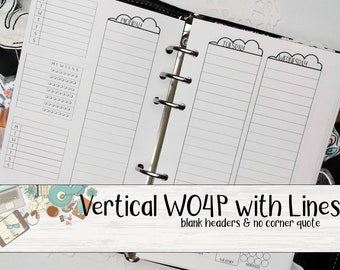 WO4P Planner Insert - Week on 4 Pages Insert- Printed Planner Insert - Planner Insert - Ringed Planner Refill - A6 Planner Insert