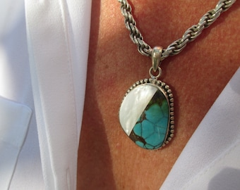 Turquoise, Mother of Pearl and Sterling Silver Pendant Necklace
