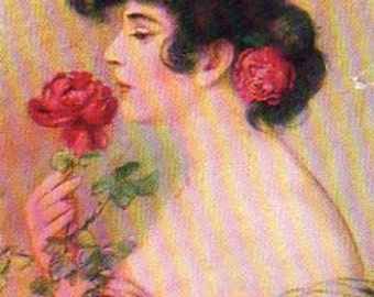 VINTAGE  POSTCARD, Young Lady with a Rose, collected by junqueTrunque