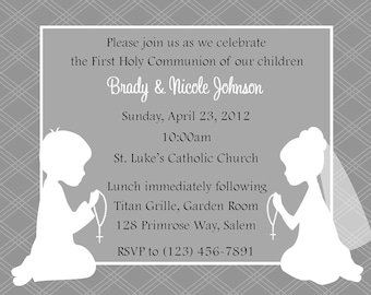 First Communion Invitation - Twins  (Digital File) / Twin First Communion Invitation - Siblings First Communion - Cousins First Communion