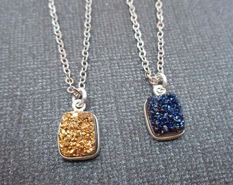 Gold Blue Druzy Necklace/Small Drusy Rectangle Silver Bezel/Sparkly Minimal Blue Gold Stone Necklace/Bridesmaid Gift Blue Wedding/GD27
