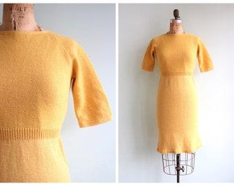 Vintage 1960's Mustard Yellow Knit Dress   Size Small