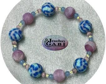 Blue, Lilac, Pale Yellow Beaded Stretch Bracelet