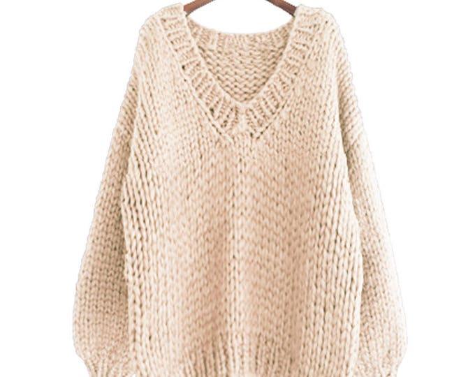 Hand knit oversize woman sweater V-neck slouchy wool  oats cream sweater