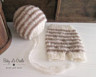 Newborn Set - Stripes | Shorts and Bonnet Outfit, Alpaca - Newborn Photography Prop