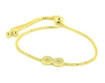 Infinity Sign | Infinity Bracelet | Infinity Charm | Gold Infinity | Chain Bracelet | Adjustable Bracelet | CZ Infinity Jewelry | Great Gift