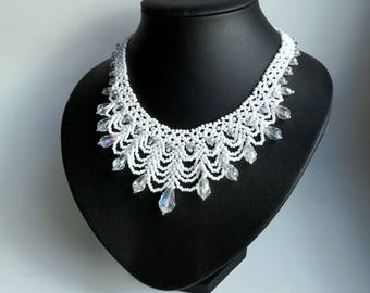 White Wedding Beadwork Necklace, Seed Bead Necklace, crystals necklace.