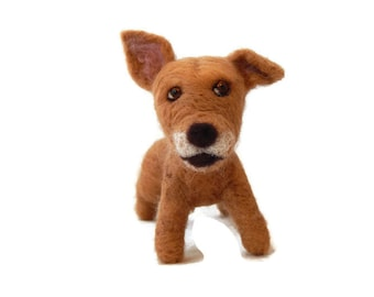Personalised Dog Sculpture, Bespoke Felted Bully figurine  - Staffie, Staffordshire bull terrier  or any breed Made To Order