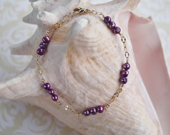 Purple Pearl Bracelet, Sundance Style Bracelet,  Gold Chain and Wire Wrapped Pearl Bracelet, Purple and Gold Bracelet; Pearl Bracelet