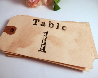 20 Table Numbers. Vintage Wedding. Boho. Anthro. Luggage Tag Numbers. Wedding Place Card Setting. Rustic. Shabby Chic. Country. LIGHT