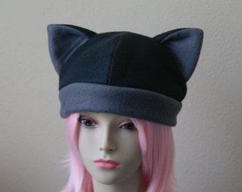 Fleece Cat Hat / BLACK + DARK GREY Beanie Style Cap Cute Anime Neko Cosplay Cat Ears Kitty Ears Kawaii Jrock Goth Punk Japanese Fashion