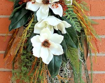 XL Bayou Magnolia Swag, Cajun Floral Swag, Louisiana Wreath, Everyday Wreath, Door Hanging, Rustic Decor, cajun decor, summer