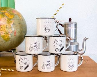 Enamel Mug Camping - illustrated Mug - Vinatge metal Cup - Retro Picnic - Travel Mug - Coffee - Tea