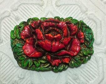 Artisan Floral Red Flower Pendant Vintage Style Spring Summer Colors
