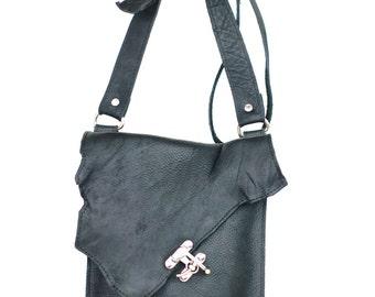 Black Leather Satchel - Raw Edge Leather Messenger - Crossbody Distressed Leather Bag
