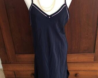 M / Miss Dior / Nightgown / Navy Blue & Pink Piping / Vintage / Medium