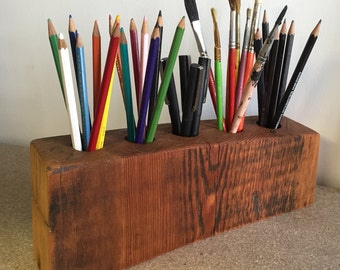 Reclaimed wood beam Pencil and Pen holder bookend