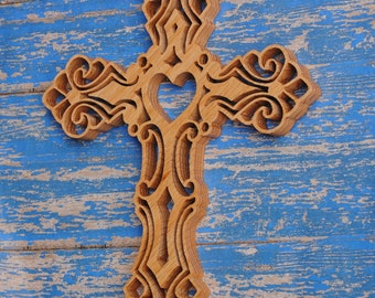 Solid Oak Ornate Heart Wall Cross