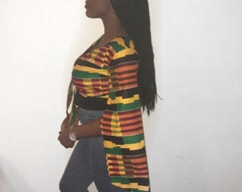 African print wrap crop top