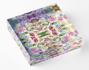 Acrylic Block Pink Paisley #3