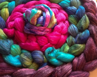 Hand Dyed roving set 7 ozs Grab Bag merino/polwarthand mulberry silk