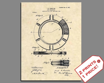 Patent Prints - 1902 Life Ring Boating Art Patent Print - Vintage Lifeguard Art Patent Art - Boating Wall Art Patent Poster Boating Art -211