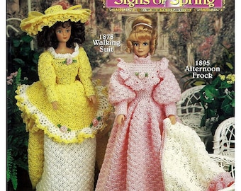 Fashion Doll Moments In Time / Victorian Era Signs of Spring / Crochet Pattern Book 798 / Shady Lane