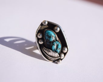 turquoise ring vintage sterling stamped SHH or HHS Native American South West jewelry shadowbox design Holiday gift idea collectible