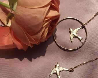 Swallow 14k Earrings, clip on earrings pair