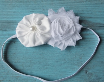 Baby Baptism pure white or antique ivory shabby chic flower on soft stretch headband newborn to 6 years