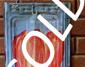 SOLD---------------- Original Painting, Vintage Metal,  Home Decor, Garden, Patio, Porch, Outdoor Art, Winjimir, Gift, Wall Art,