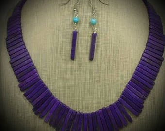 """Purple Howlite Crystal Necklace and Earring Set 18"""""""