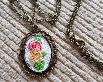 Antique Style Cross Stitch 2 Roses Pendant