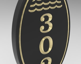 House Number Plaque, Sign 5 x 8 With Oval Frame Black with Gold Personalized.