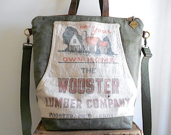 Lumber apron, waxed military canvas carryall, tote bag - Wooster Lumber Co. Ohio - eco vintage fabrics