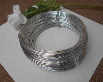 Silver Aluminum wire - width 2 mm - length 3 meters