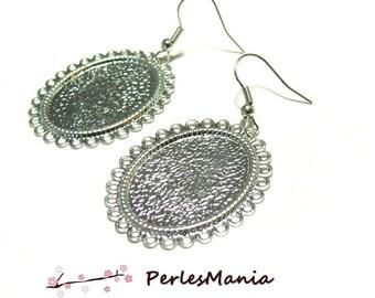 2 crochet wave flat oval 18 by 25mm ID26761 Platinum Silver Earring