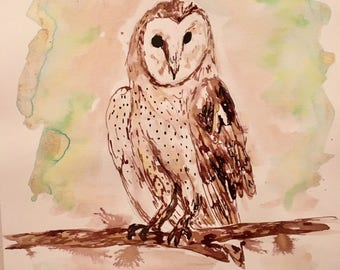 Ink Painting of a barn owl
