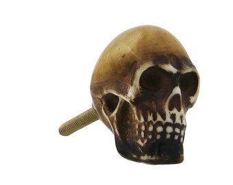 Brown Skull Resin Knob Pull for Cabinets, Drawers, Dressers, Doors & Furniture - i162