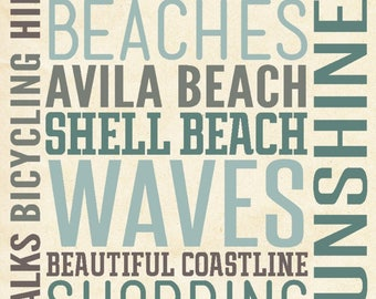 Pismo Beach, California - Typography - Lantern Press Artwork (Art Print - Multiple Sizes Available)